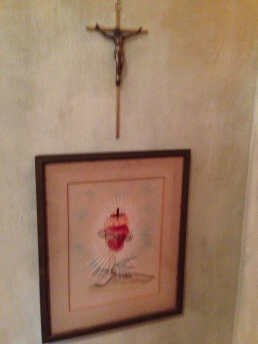 crucifix and sacred heart...